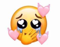 Emoji đưa tay che mặt khóc có trái tim