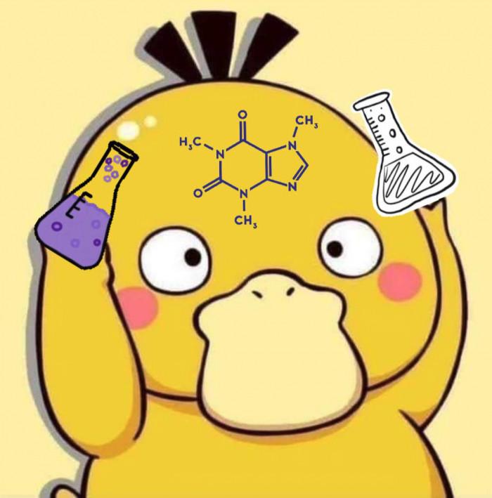 Vịt vàng hóa học cầm lọ đựng hóa chất