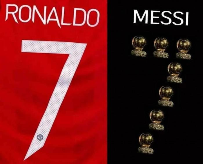So sánh Ronaldo và Messi nhưng Messi nhận 7 quả bóng vàng
